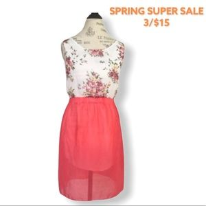 Semi-Sheer Floral Dress in Coral Pink and White